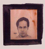 150 Pounds - 1999-2000 - Pencil, Resin, Burnt Wood Frame - 11x8.5""
