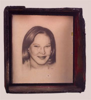 Blue Eyes Blond Hair - 1999-2000 - Pencil, Resin, Burnt Wood Frame - 11x8.5""
