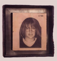 Blue Eyes - 1999-2000 - Pencil, Resin, Burnt Wood Frame - 11x8.5""