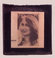 Brown Eyes - 1999-2000 - Pencil, Resin, Burnt Wood Frame - 11x8.5""