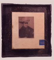 Cowboy Hat - 1999-2000 - Pencil, Resin, Burnt Wood Frame - 11x8.5""