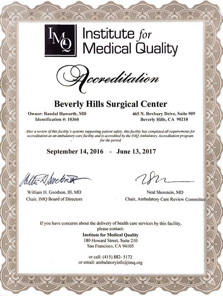 Accreditation certificate for Dr. Randal Haworth, Beverly Hills plastic surgeon