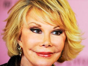 Joan Rivers with obvious plastic surgery and pixie-ear deformity
